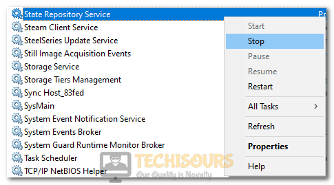 """Clicking on """"Stop"""" in front of State Repository Service to fix State Repository Service High CPU Usage"""