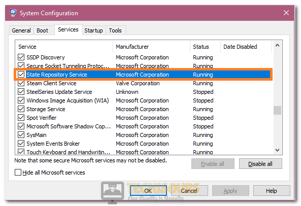 Unchecking State Repository Service option to fix State Repository Service High CPU Usage