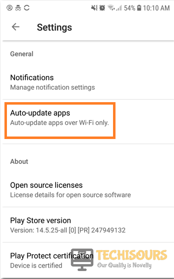 Clicking on Auto-Update Apps