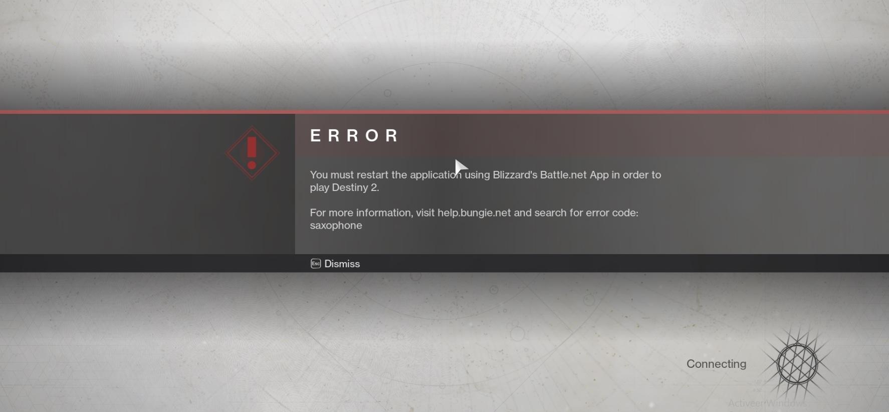 Destiny 2 Error Code Saxophone