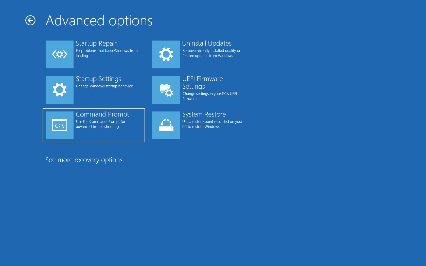 Booting Into Advanced Startup to fix Raw-Mode is Unavailable Courtesy of Hyper-V
