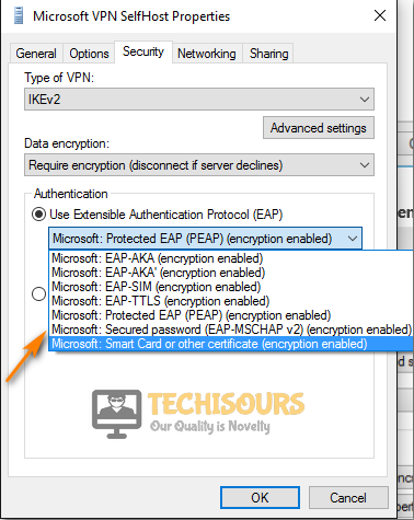 Select Secured Password Option