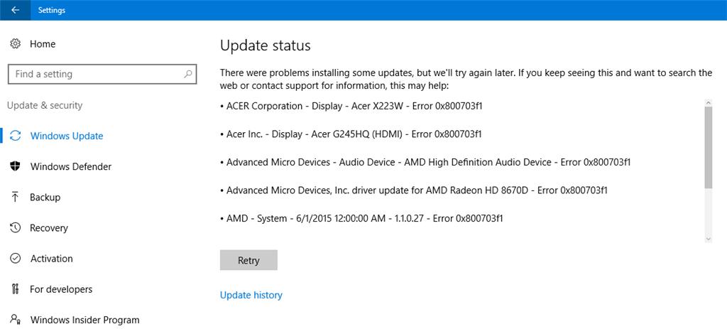 Windows Update Error 0x800703f1