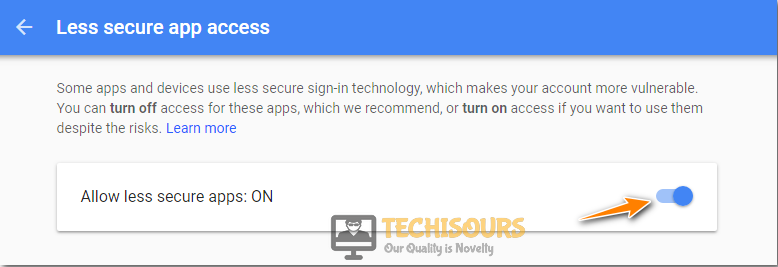 Allow Less Secure Apps to fix Amcrest Email Test Failed