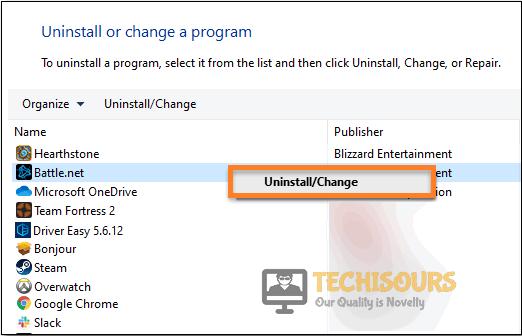 Uninstall Battle.net to fix Destiny 2 Error Code Saxophone