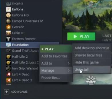 Uninstall Steam Games