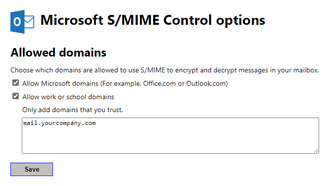 the content can't be displayed because the s/mime control isn't available
