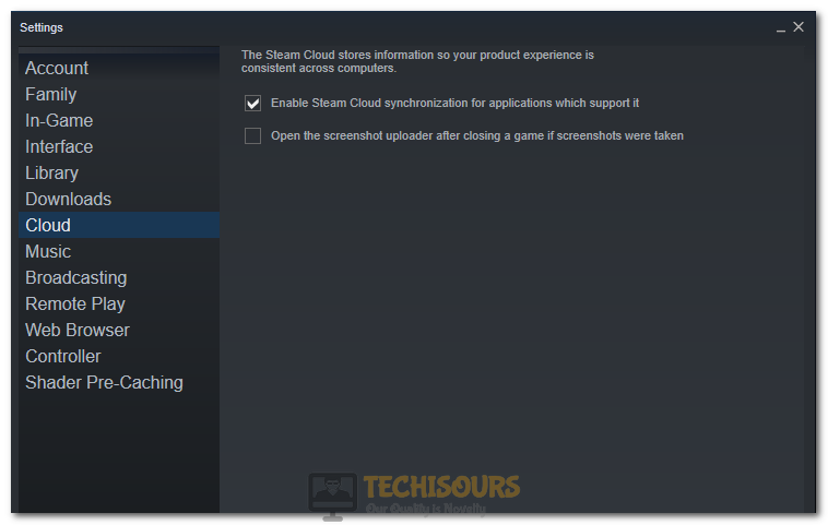 Unchecking the Steam Cloud Sync Option