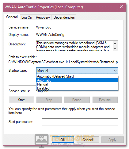 """Clicking on the """"Automatic"""" startup for the service to fix Windows did not Detect any Networking Hardware"""