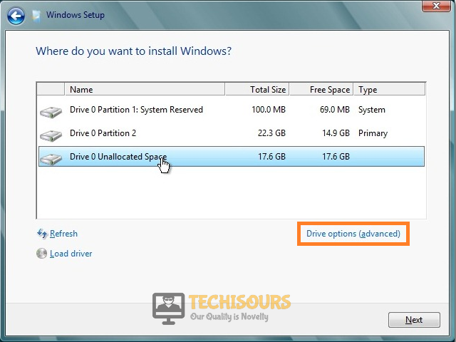 Click on Drive Options