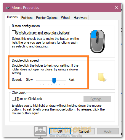 Decreasing the Double Click Speed from the menu to fix Logitech Mouse Double Clicking issue