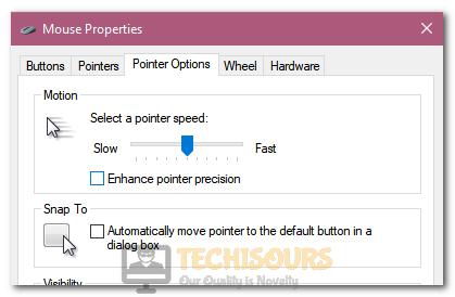 "Unchecking ""Enhance Pointer Precision"" option"
