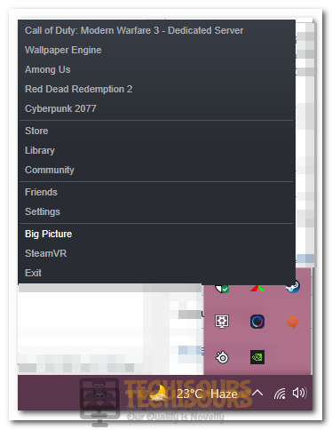 Selecting Big Picture Mode to fix Steam Workshop not Downloading Mods