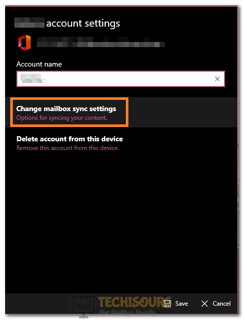 """Selecting """"Change Mailbox Sync Settings"""" option to fix Error Code 0x8019019a"""