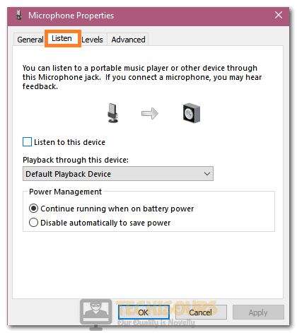 """Unchecking the """"Listen to this Device"""" option"""