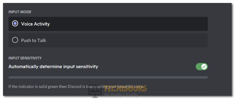 """Selecting the """"Automatically Determine Input Sensitivity"""" option to fix Discord Picking up Game Audio"""