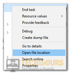 """Selecting """"Open File Location"""" button"""