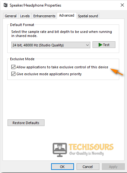 Check exclusive control option