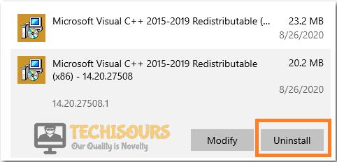 Uninstall Microsoft Redistributables