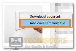 """Selecting the """"Add Album Art from File"""" option"""