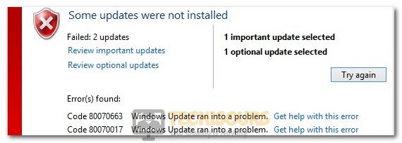 Windows Update Error 80070663
