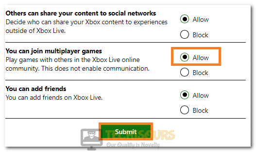 """Clicking on the """"Allow"""" button to fix Minecraft Unable to Connect to World error"""