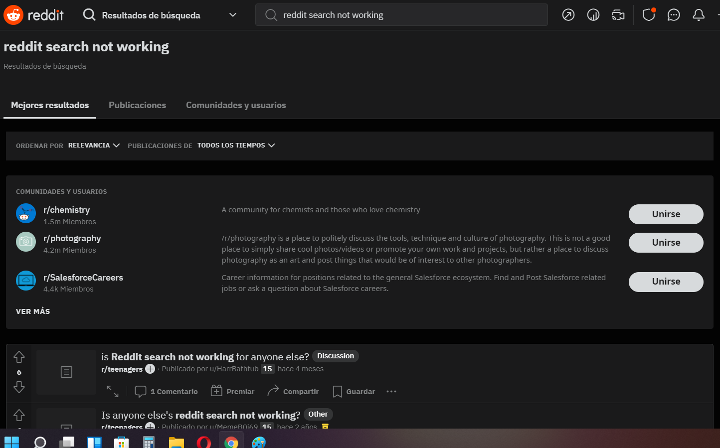 reddit search not working issue
