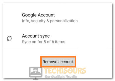 """Selecting the """"Remove Account"""" option to fix DF-DFERH-01"""
