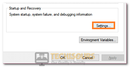 Selecting Startup and Recovery Settings