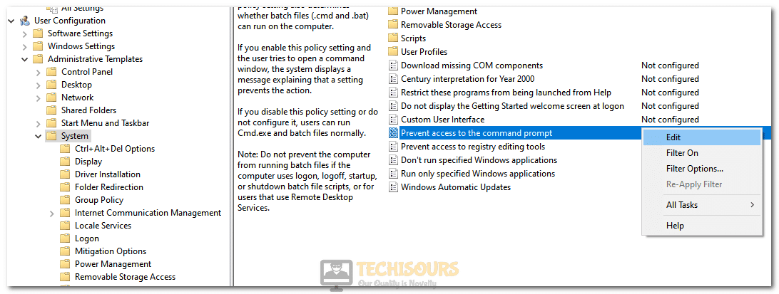 Disabling the Prevent access to command prompt entry to fix Error 0xc0000142