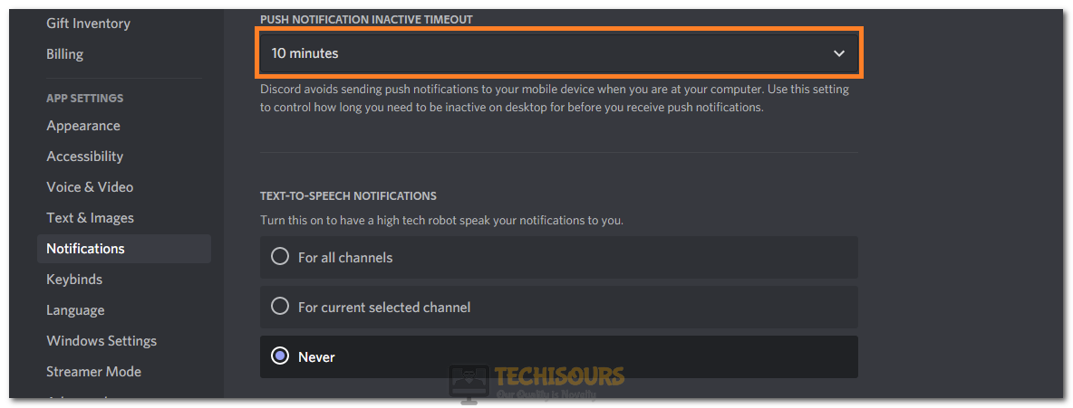 Reducing the Push Notification Inactive Timeout Option to fix Discord Notification Sound not Working
