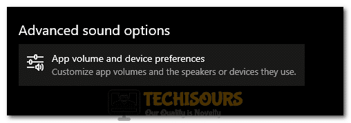 """Selecting the """"App volume and device preferences"""" option"""