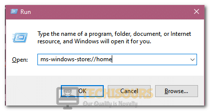 """Typing in """"ms-windows-store://home"""" inside the Run Prompt"""