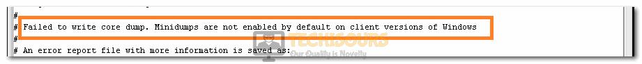 Failed to Write Core Dump