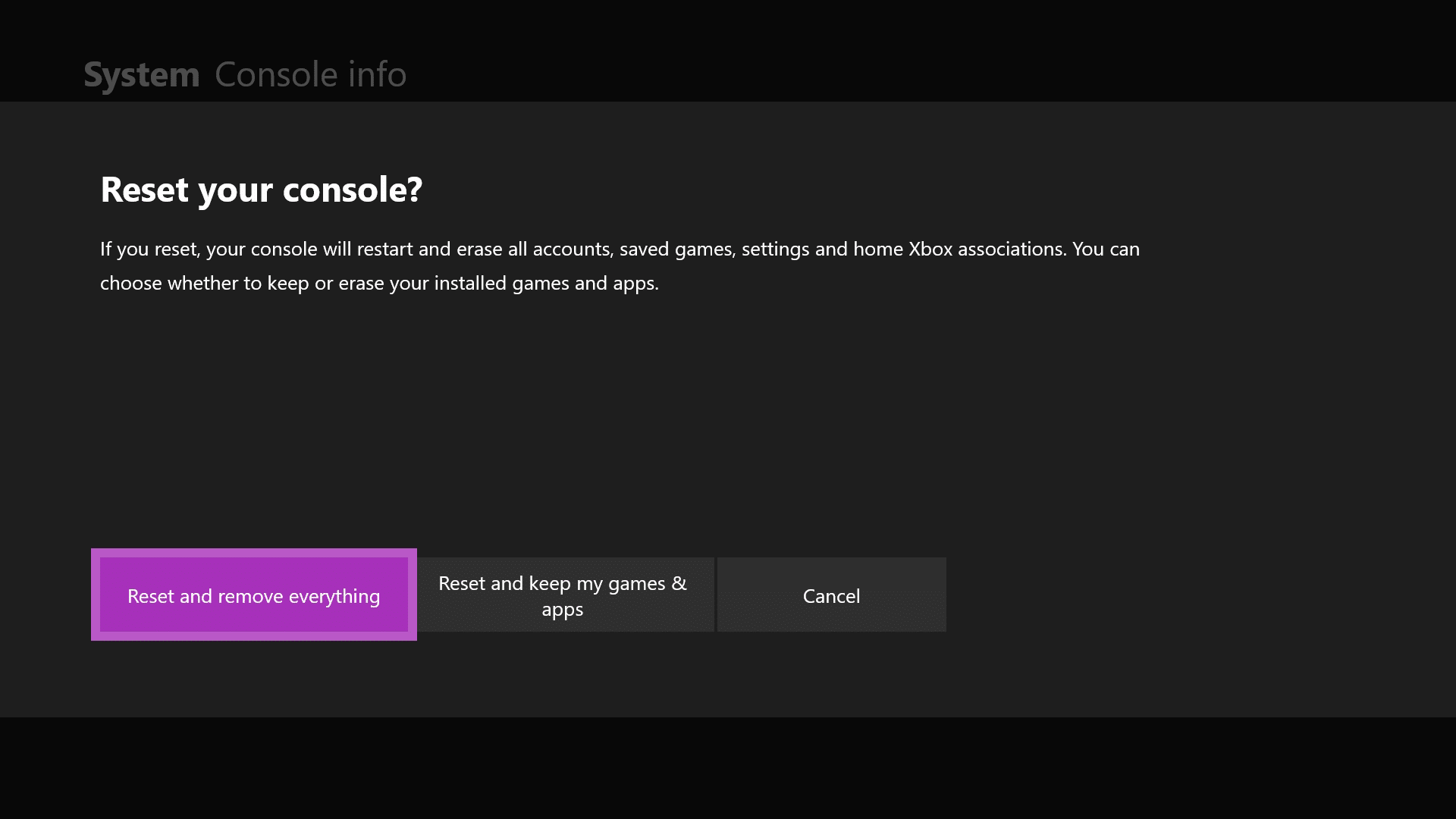 Choose Reset your console option